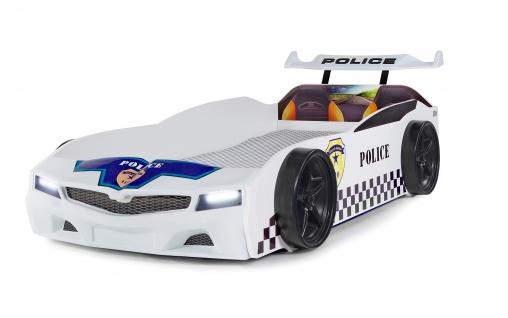 Autobett Police Polizei mit blinkendem Blau-Rotlicht