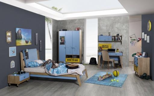 Jugendzimmer Set Active in Blau-Hellbraun