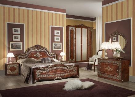 Schlafzimmer Set Elena in Walnuss Klassisch Design 160x200 cm / mit Schrank 4 t?rig / mit Kommode und Spiegel / mit Lattenrost 26 Leisten + Mittelzonenverst?rkung