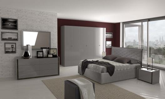 Schlafzimmer Set Valencia modern 160x200 cm / mit Schrank 6 t?rig / mit Kommode und Spiegel
