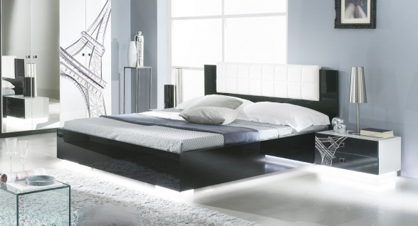 Bett VIVIENNE in Schwarz Weiß Modern Design