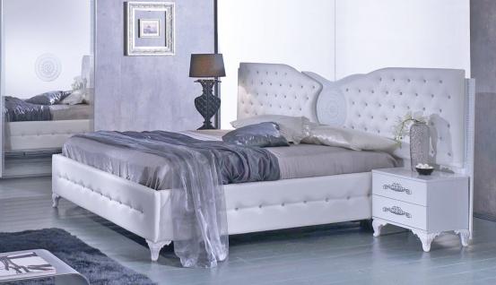 Bett Anatalia in Wei? Modern Design 180x200 cm / mit Lattenrost 26 Leisten + Mittelzonenverst?rkung