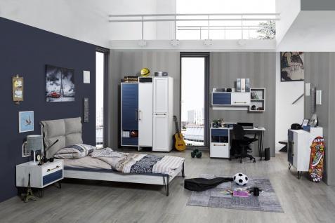 Jugend-Kinderzimmer Set Loft 6-teilig in Weiß-Blau mit USB-Anschlüssen