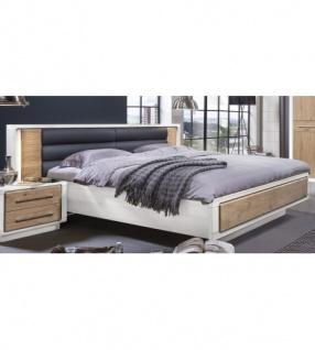 Bett 160x200 cm Elba Asteiche Bianco Pinie weiß teilmassiv - Kaufen ...