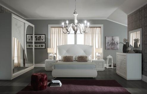 Schlafzimmer Set Camilla in Wei? 160x200 cm / mit Kommode und Spiegel