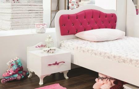 m dchenbett pia 100x200 cm und nachtkonsole in weiss pink kaufen bei kapa m bel. Black Bedroom Furniture Sets. Home Design Ideas