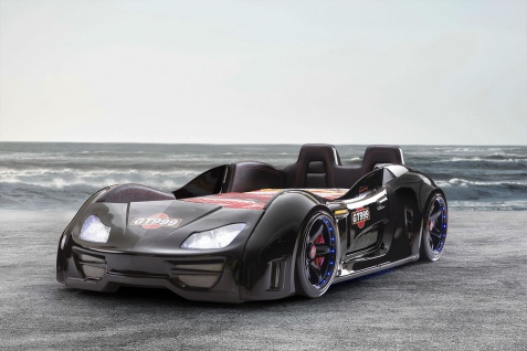 Autobett Turbo GT Extra in Schwarz mit T?ren, R?ckenlehne, Polsterung und LED Beleuchtung