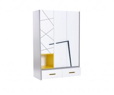Kleiderschrank 3-trg Vector wei? grau gelb