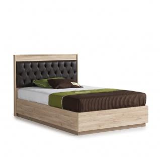 Jungend Bett Alfa in Weiss Natur Braun ohne Matratze / 100x200 cm
