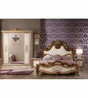 Schlafzimmer Anja beige Italien König Barock Bett 180 King Kls 4 ...