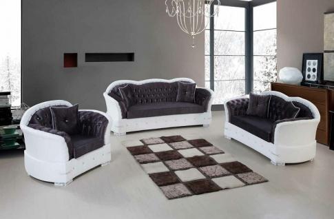 Sofa Couch Set Musa 3+2+1 in Schwarz Weiss