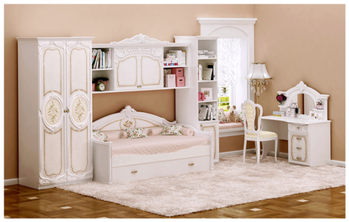Kinderzimmer Rozza in beige Hochglanz Barock Klassik Möbel