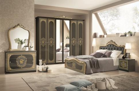 Schlafzimmer Alice 6-teilig in schwarz Gold Barock mit Polsterung 160x200 cm / mit Schrank 4 t?rig