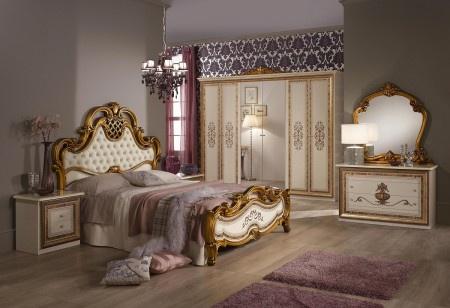 Schlafzimmer Anja Beige Bett 160 Schrank 6trg Italien Barock Kla