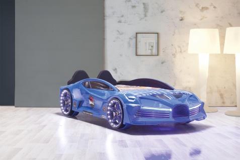 Autobett Moon in Blau inkl. Lattenrost mit LED und Polsterung