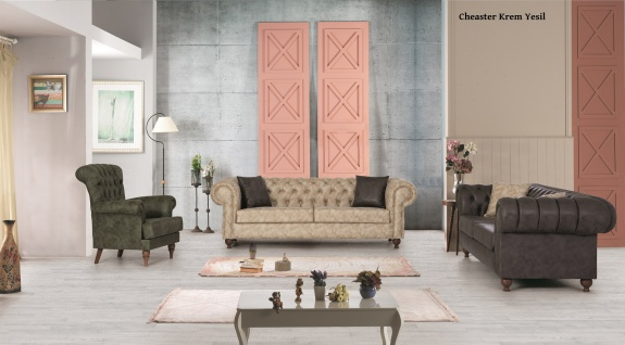 Sofa Set Chester 3+2+1 in Creme Gr?n