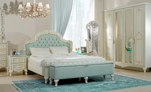 Schlafzimmer Louise mit 160 Bett in Beige T?rkis Set 3