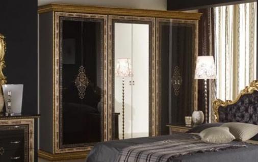 Kleiderschrank 6trg Jenny in schwarz Gold Black Luxus Edel
