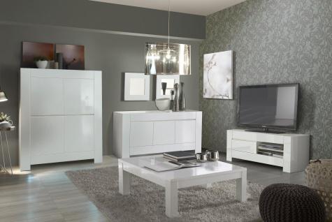 Wohnzimmer-set 4tlg Luna weiss hochglanz Schrank Tisch Highboard