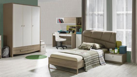 Jugendzimmer Green 90x200cm Bett Schrank 3trg modern braun beige