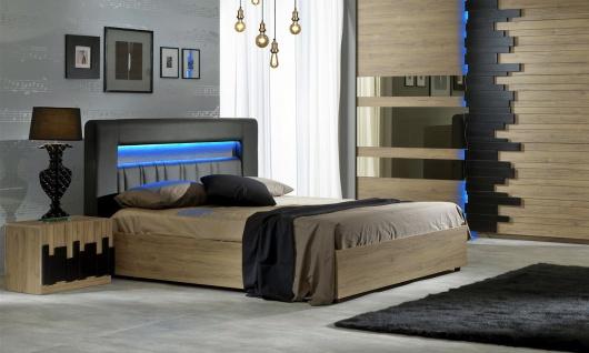 Bett Mozart in Buche Optik Design 160x200 cm / ohne Lattenrost