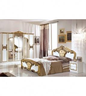 Schlafzimmer Elisa weiss Gold 160 x 200 cm Klassik Italien 4tlg ...