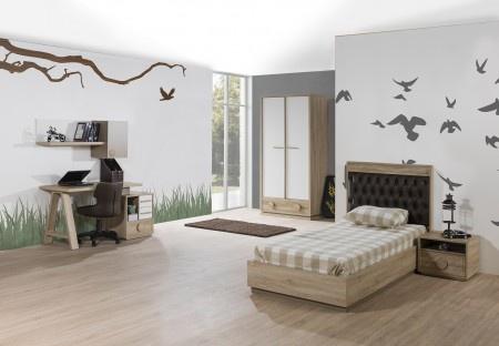Uberlegen Kinderzimmer ALFA Bett 90x200 Cm Natur Braun Weiss Jugendzimmer