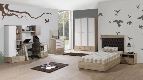 Kinderzimmer ALFA Bett 90x200 cm natur braun weiss 6tlg.