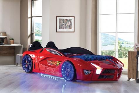 Autobett Luxury Vollversion in rot inkl Lattenrost mit LED und Polsterung Kinder
