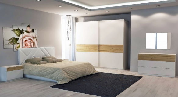 Schlafzimmer Set Aki in Weiß Buche Modern Design