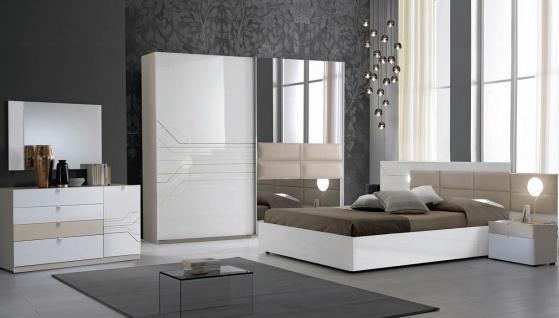 Schlafzimmer Set Svetlana in Weiss Beige 160x200 cm / mit Lattenrost 26 Leisten
