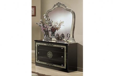 Kommode Lucy mit Spiegel schwarz silber für Schlafzimmer Klassik