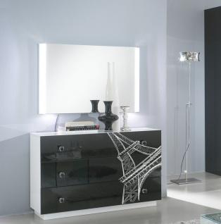 Kommode mit Spiegel VIVIENNE in Schwarz Weiß Modern Design