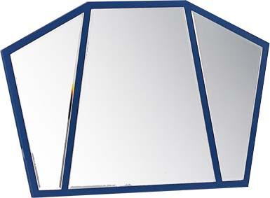 Wandspiegel Pilot in Blau Flugzeug dreigeteilt