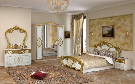 Wunderbar Schlafzimmer Rozza In Weiß Gold Klassisch 160x200 Cm Barock