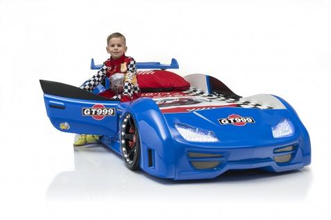 Autobett Turbo GT999 90x190cm in Blau mit T?ren, LED Bleuchtung und Fernbedienung ohne Lattenrost / 7 Zonen Comfortschaum-Matratze 90x190cm ca.16cm Hoch