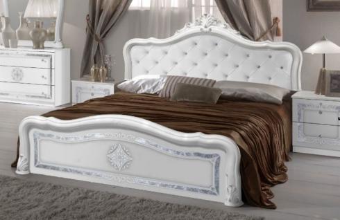 Bett Lucy 160 x200 cm in weiss königlich Polsterung im Kopfteil