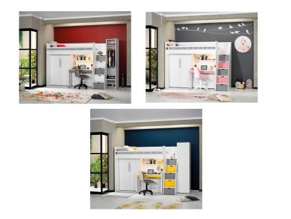 Hochbett Etagenbett Neo mit Kleiderschrank 2trg Schreibtisch Set