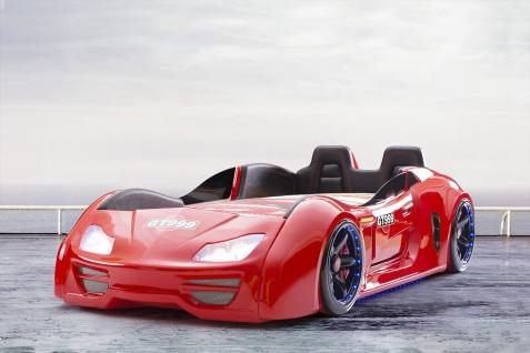 Autobett Turbo GT Extra in Rot mit T?ren, R?ckenlehne, Polsterung und LED Beleuchtung 7 Zonen Comfortschaum-Matratze 90x190cm ca.16cm Hoch