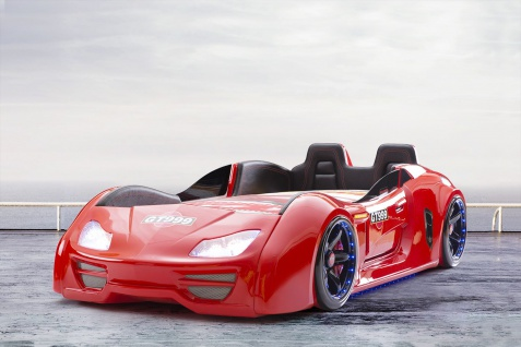 Autobett Turbo GT Extra in Rot mit T?ren, R?ckenlehne, Polsterung und LED Beleuchtung ohne Matratze