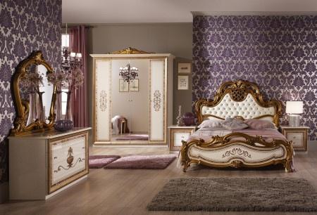 Schlafzimmer Anja beige Italien König Barock Bett 160 Kls 4 trg ...