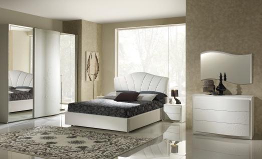Schlafzimmer Set Canel in Wei? modern Design 160x200 cm / mit Kommode und Spiegel