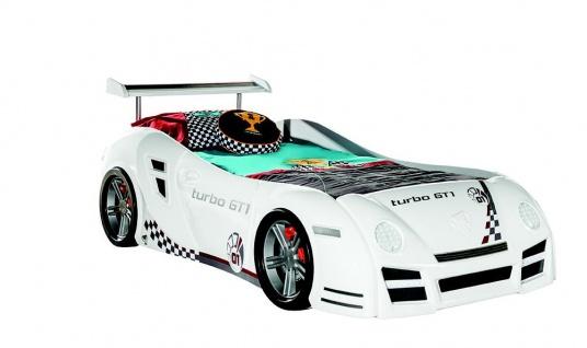 Autobett Turbo GT1 weiss mit LED für Kinderzimmer Bett