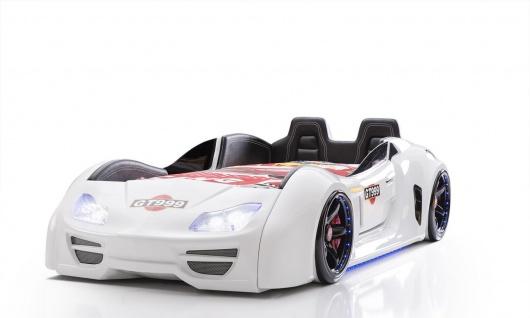 Autobett Turbo GT Extra in Wei? mit T?ren, R?ckenlehne, Polsterung und LED Beleuchtung ohne Matratze