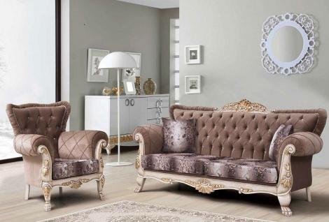 Couch Sofa Set Asrin 3+1 in Braun Weis