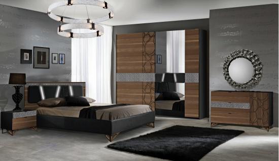 Schlafzimmer Set Mercury in Schwarz / Walnuss 160x200 cm / mit Lattenrost 26 Leisten