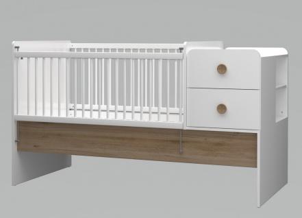 Babybett Baby Cute vergr??erbar 80x130-180 cm weiss/oak