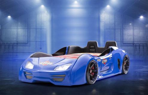 Autobett Turbo GT Extra in Blau mit T?ren, R?ckenlehne, Polsterung und LED Beleuchtung ohne Matratze