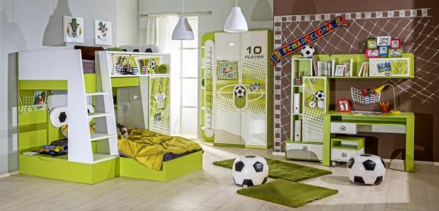 Kinderzimmer Fussball in Grün Weiß Etagenbett 8-Teilig