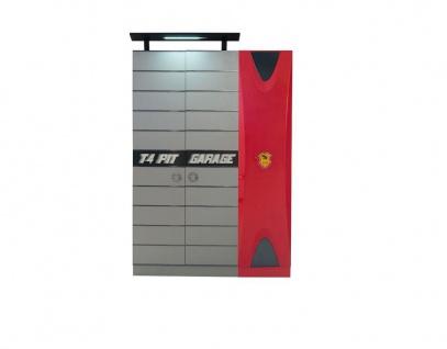 Kleiderschrank 3-t?rig Garage in Grau Rot